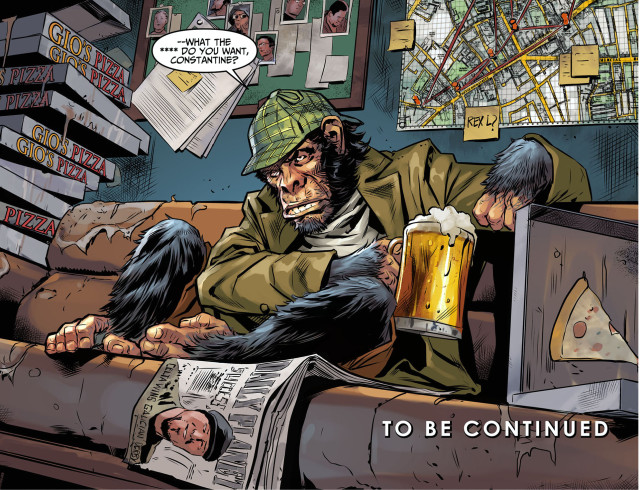 jusitice league dark movie detective chimp drinking beer