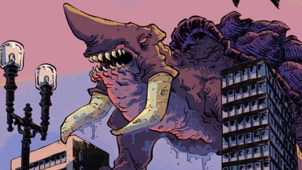 kaiju score monster over city