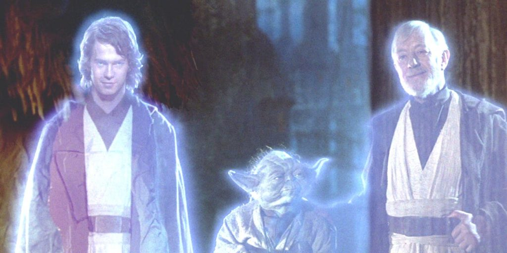 star wars force ghosts anakin-yoda-and-obi-wans-ghost-jamboree-at-the-end-ofreturn-of-the-jedi