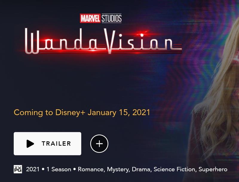 WandaVision Disney+ TV-PG