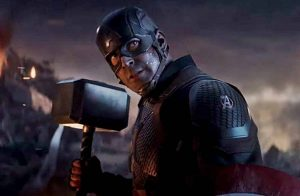 Captain America wielding Mjönlir in Endgame.
