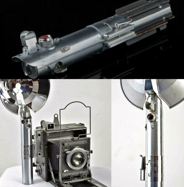 Luke Skywalker's lightsaber from The Star wars is a flash handle from a vintage camera.