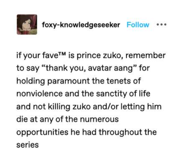 12. Zuko was let go and forgiven by Aang
