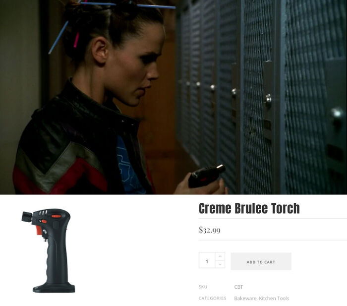 The specialized locker cutting tool in Alias (2005) is a crème brûlée torch.