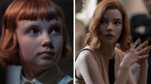 Young Beth and Grown up Beth in 'The Queen's Gambit'