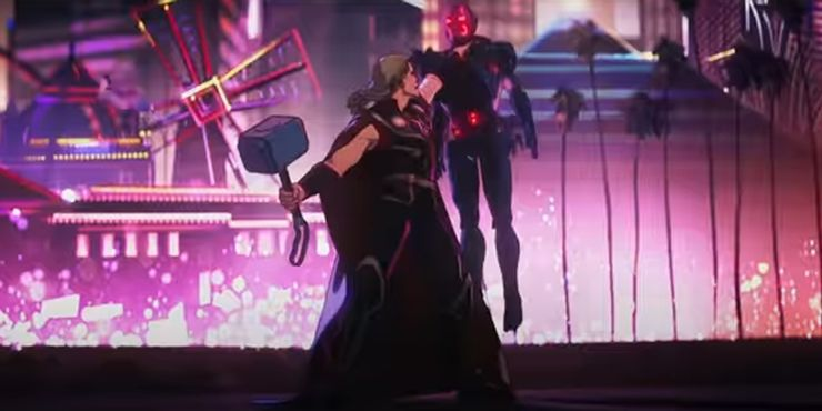 """The trailer of """"What if...?"""" shows Party Thor battling an Ultron with Mjolnir, supporting the theory that these androids are some kind of multi-threat."""