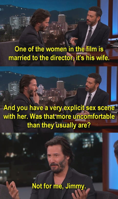 Keanu Reeves with Jimmy Kimmel