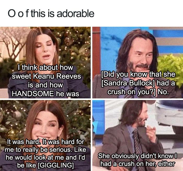 Keanu Reeves and Sandra Bullock in Ellen's Show
